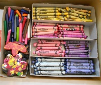crayon box bottoms as organizers