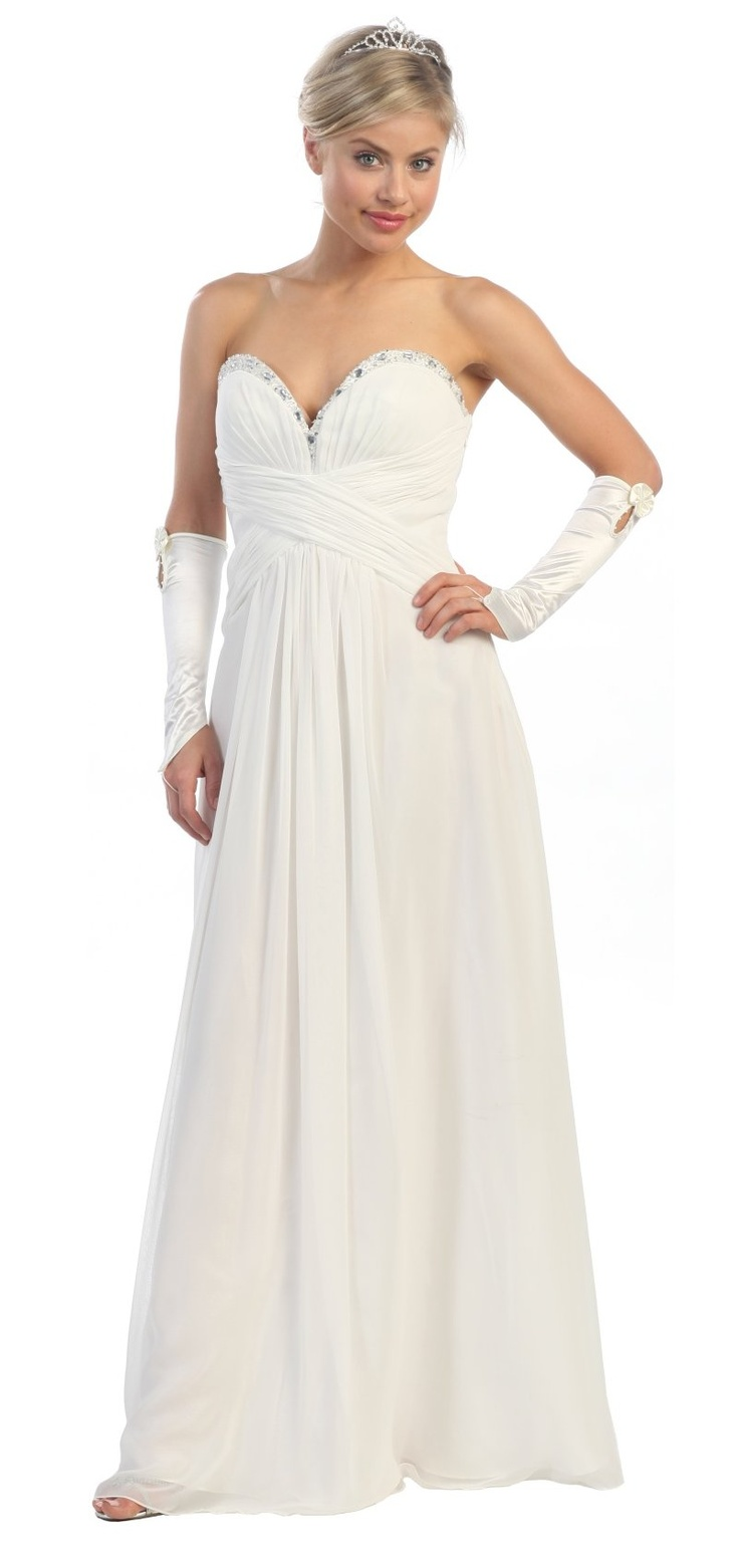 Long Prom Dress Off White Strapless Beading Sweetheart Chiffon Layer $147.99