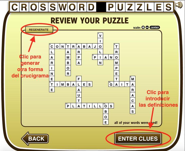 Herramienta gratuita y sin registro para crear crucigramas. Ejemplo de actividad para clase.