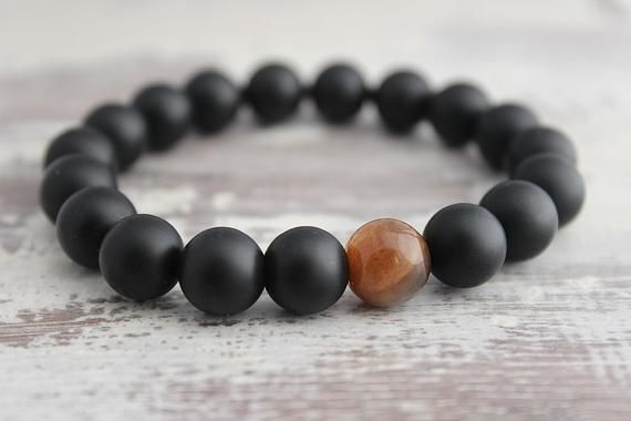 Gift for Him Sunstone & Black Onyx Bracelet for Boyfriend Gift Mens Gift Mens Beaded Bracelet for Hi