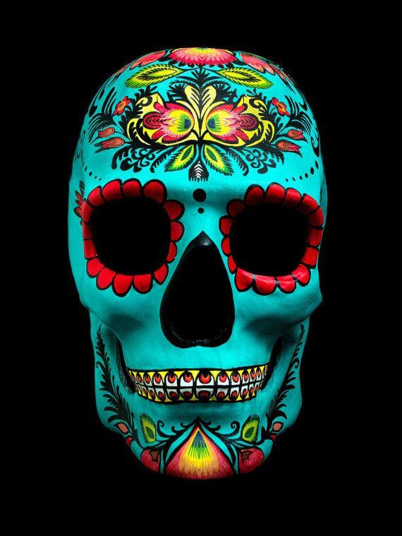 La máscara de cráneo Floral mexicana, máscara de maché de papel de halloween, día de los muertos completa máscara de maché de papel ante, máscara de espectro 007 James Bond