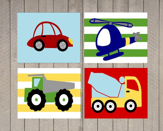 SALE - Nursery Art - Kids Wall Art - Boy -Travel Nursery - Boats - Planes - Transportation - car nursery - helicopter - boys room on Etsy, $27.00