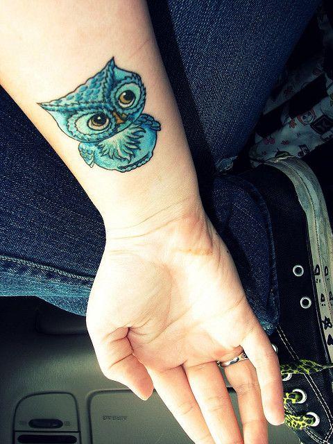 Owl bird tattoo ink girl blue green
