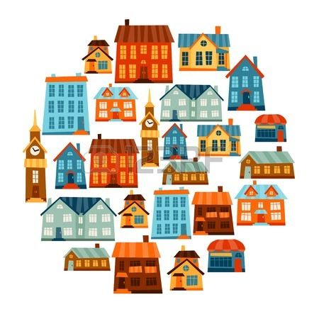 Town icon set of cute colorful houses. #flat #vector #design #town #houses