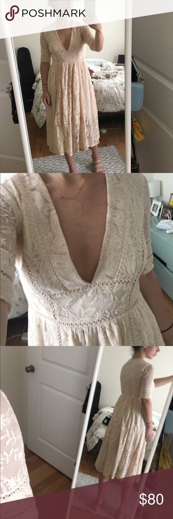 Free People Blush Lace Dress Perfect condition, Lace detail, deep v neckline. Free People Dresses Midi