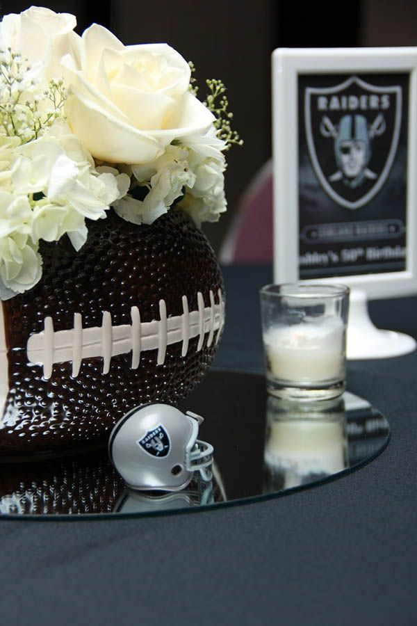 beautiful football vase & flowers for football party