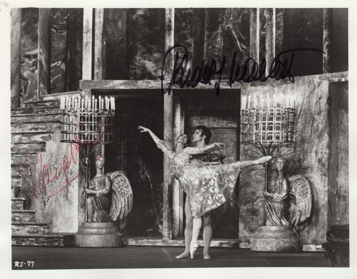 NUREYEV RUDOLF (1938-1993) Russian Ballet Dancer & FONTEYN MARGOT (1919-1991) English Ballerina. Signed 10 x 8 photograph by both Nureyev and Fonteyn individually, the image depicting the dancers in full length poses together, in costume from a performance of Romeo and Juliet in 1966. Signed by Nureyev in bold black ink, with his name alone, and Fonteyn, in red ink, also with her name alone.