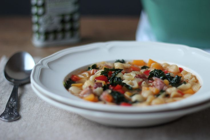 ... - Minestrone of squash, red pepper and conchigliette with basil oil