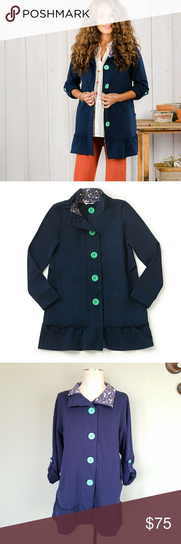 "Matilda Jane A Million Little Things Jacket Matilda Jane. Women's Large. Stretchy. A Million Little Things Jacket. Navy Blue - Large chunky teal buttons. Zip up and button up front.  Front pockets.  Ruffle bottom hem. Roll tab sleeves. Can be worn full length or buttoned up.  Floral pattern inside the collar. Medium weight. Perfect for spring! Bust- 21"" (Lying flat, from pit to pit.) Length- 31"" (from top of the shoulder to bottom hem). Excellent, like new, condition! Worn once. Matilda Jane…"
