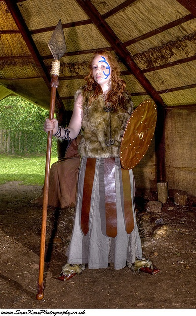 a reconstruction of Boudicca and her village of the Iceni