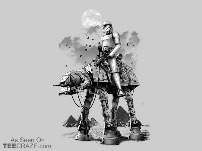 Stormtrooper & Camel T-Shirt - http://teecraze.com/stormtrooper-camel-t-shirt/ -  Designed by Adam Lawless    #tshirt #tee #art #fashion #clothing #apparel #StarWars