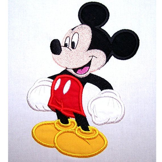 Happy Mike Mouse Applique Machine Embroidery Design Pattern-INSTANT DOWNLOAD