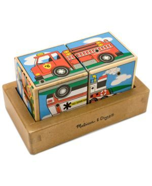Melissa and Doug Kids Toy, Vehicles Sound Blocks (000772012720) Hear the sounds of six favorite vehicles when the two wooden cubes are properly placed in the wooden tray! Fire engine and steam train are among the featured vehicles in this match and listen activity from Melissa and Doug. The realistic sounds act as lively encouragement when children put together the halves that match.