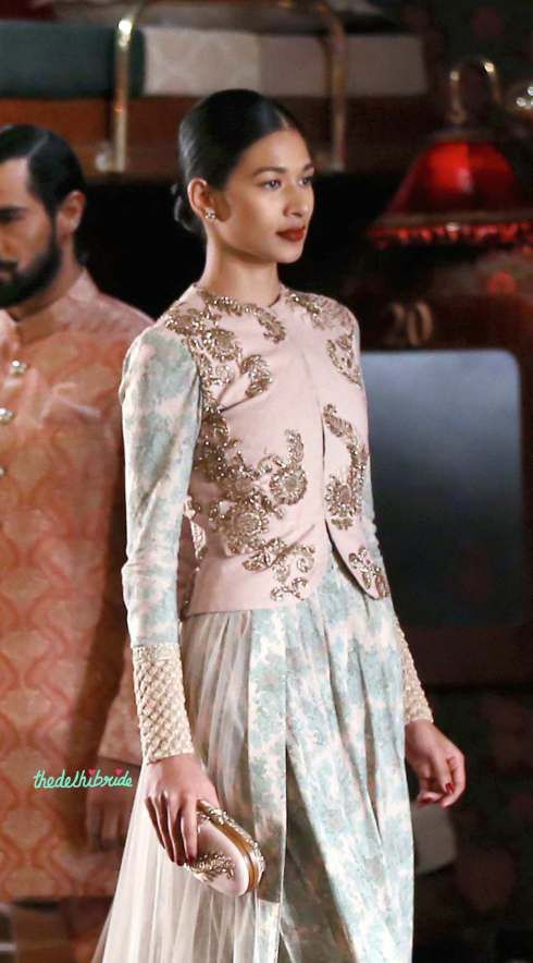 Angrakha with peplum jacket and vintage pants - in duck egg blue and pastel pink