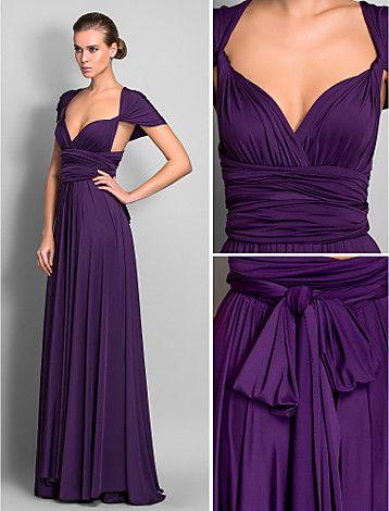 [CyberWeekSale]Bridesmaid Dress Floor Length Jersey Sheath Column Convertible Dress - USD $ 104.99
