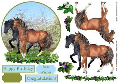 Horses in spring on Craftsuprint - Add To Basket!