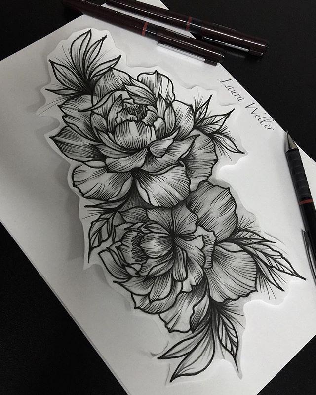 Desenho peônia tatuagem