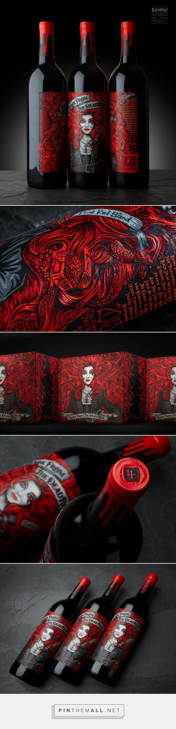 Back from the Dead Red wine packaging design by McLean Design - http://www.packagingoftheworld.com/2017/06/back-from-dead-red.html