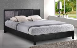Buy Munich Black Leather Double Bed at Furniture Choice