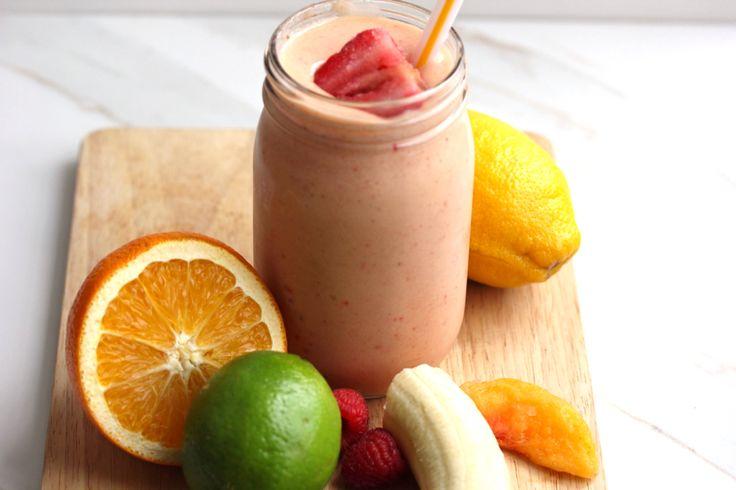 Summer smoothie Orange Lime Raspberry Banana Lemon Strawberry