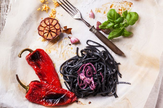 Check out Black spaghetti with grilled vegetab by Natasha Breen on Creative Market