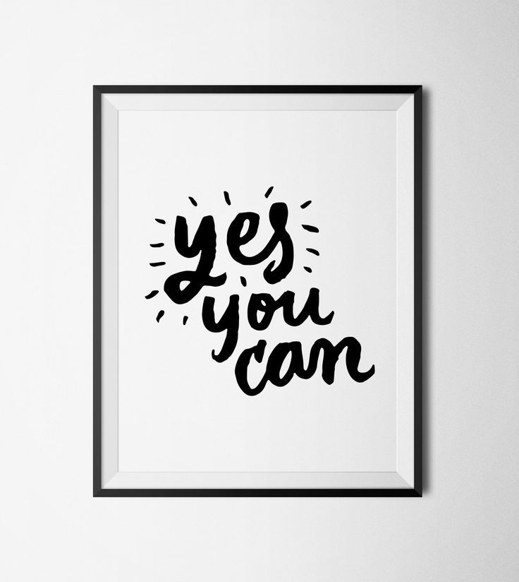 Yes You Can Printable Typography Wall Art Inspirational Wall Art Typography Quotes
