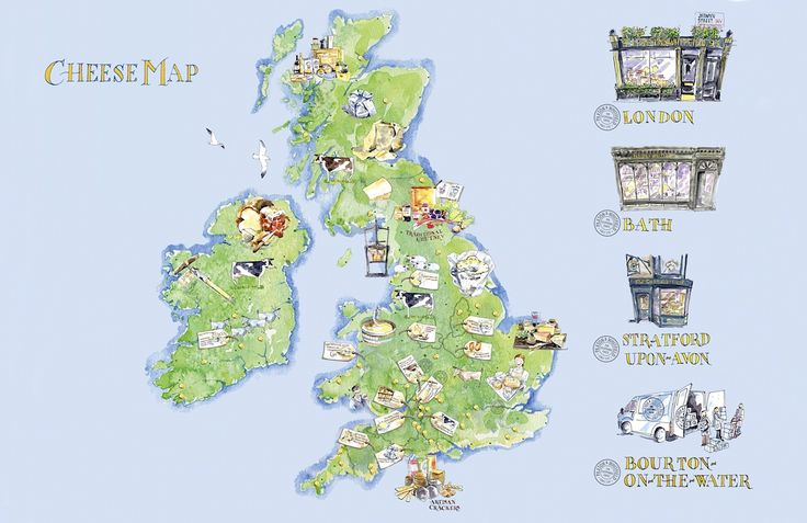Cheese Map of Britain Uk Watercolour Infographic Made in Britain