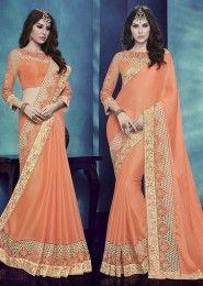 Designer Orange Colored Chiffon Satin Saree