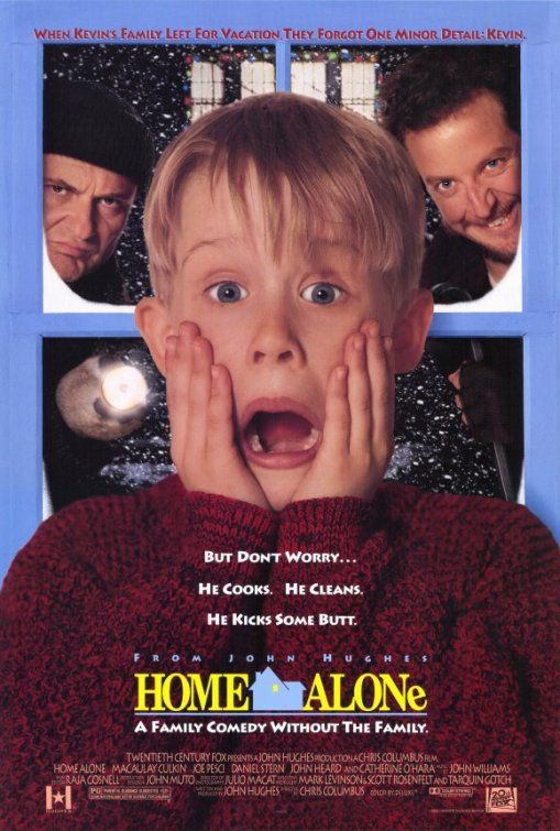 Home Alone (1990): An 8-year-old boy, who is accidentally left behind while his family flies to France for Christmas, has to defend his home against idiotic burglars.  #movie
