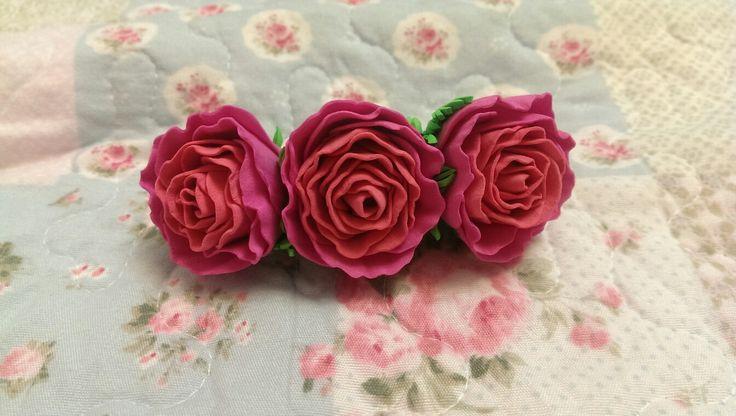 Фоамиран, цветы ручной работы, цветы из фоамирана, заколка автомат, заколка из фоамирана, розы из фоамирана, роза, розовые розы, маленькие розы