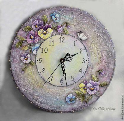 """Часы для дома ручной работы. Ярмарка Мастеров - ручная работа. Купить Часы """"Анютины глазки""""2. Handmade. Сиреневый, серебристый, разноцветный"""