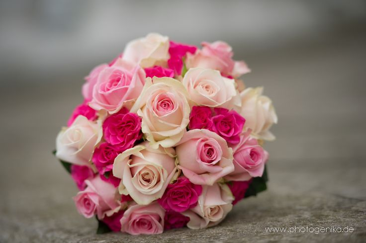 Brautstrauss mit Rosen in rosa, pink und creme