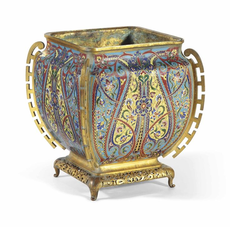 A LATE 19TH CENTURY ORMOLU, COPPER AND ENAMEL JARDINIERE SIGNED BY MAISON F. BARBEDIENNE