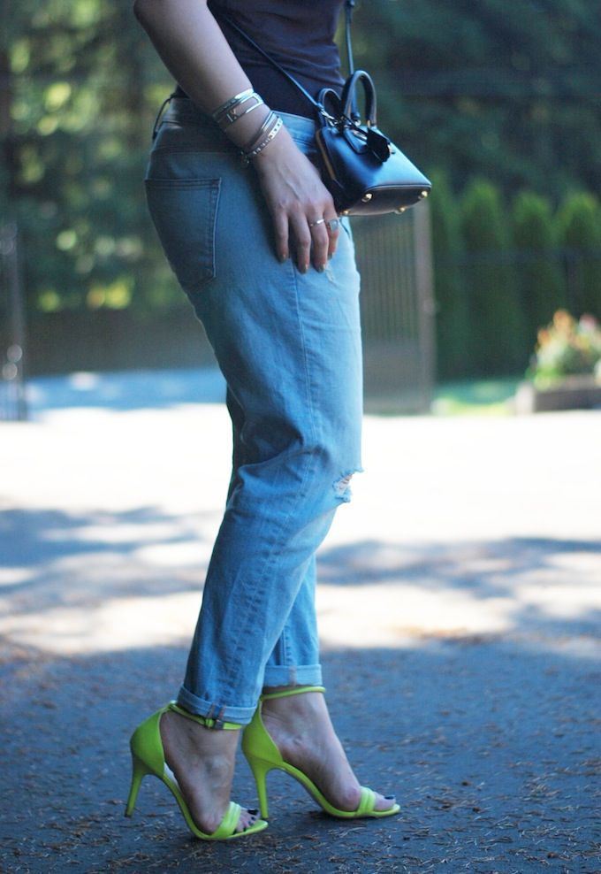Neon green heels and boyfriend jeans: #sotd delight! See more: www.covetandacquire.blogspot.ca