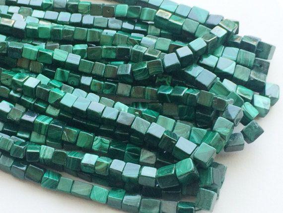 Malachite Cube Beads Malachite Plain Box Beads by gemsforjewels