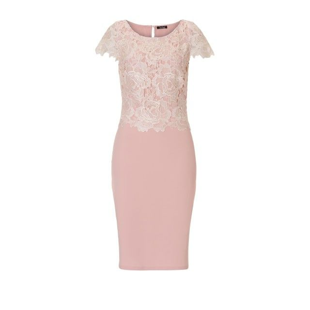 Vera Mont Dress with Lace Overlay Pink