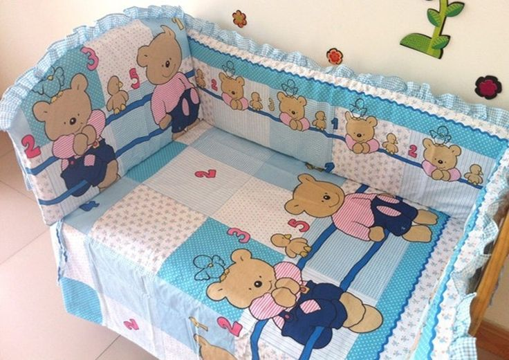 (42.80$)  Buy here  - Promotion! 6pcs baby cot sets baby bed bumper Baby bed curtain (bumpers+sheet+pillow cover)