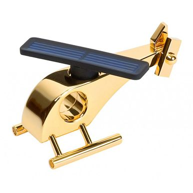 Solar Powered Metal Helicopter Tabletop Model 24ct gold plated