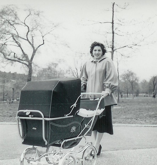 1953 Frances Texin and Baby Carriage by Tex Texin, via Flickr