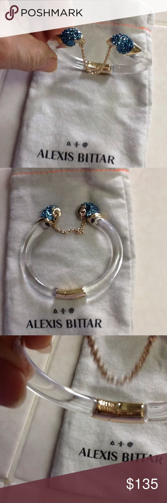 WEEKEND SALE💝 RARE ALEXIS BITTAR PARROT BRACELET Lovely, unique bracelet by Alexis Bittar .  Lucite hinged band, chain with two parrots heads of Swarovski crystals.  Alexis Bittar signature on hinge.  New, never worn. Alexis Bittar Jewelry Bracelets