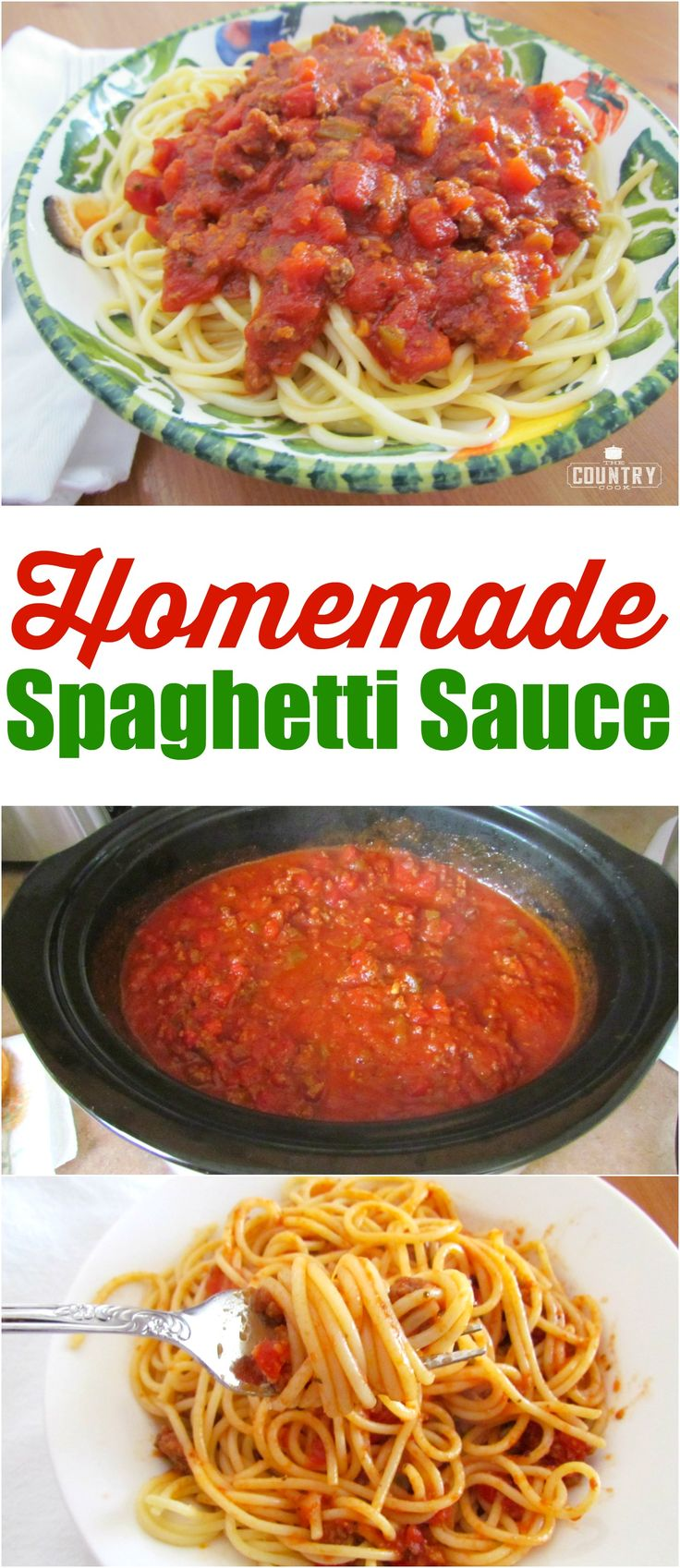 Homemade Beefy Spaghetti Sauce recipe from The Country Cook
