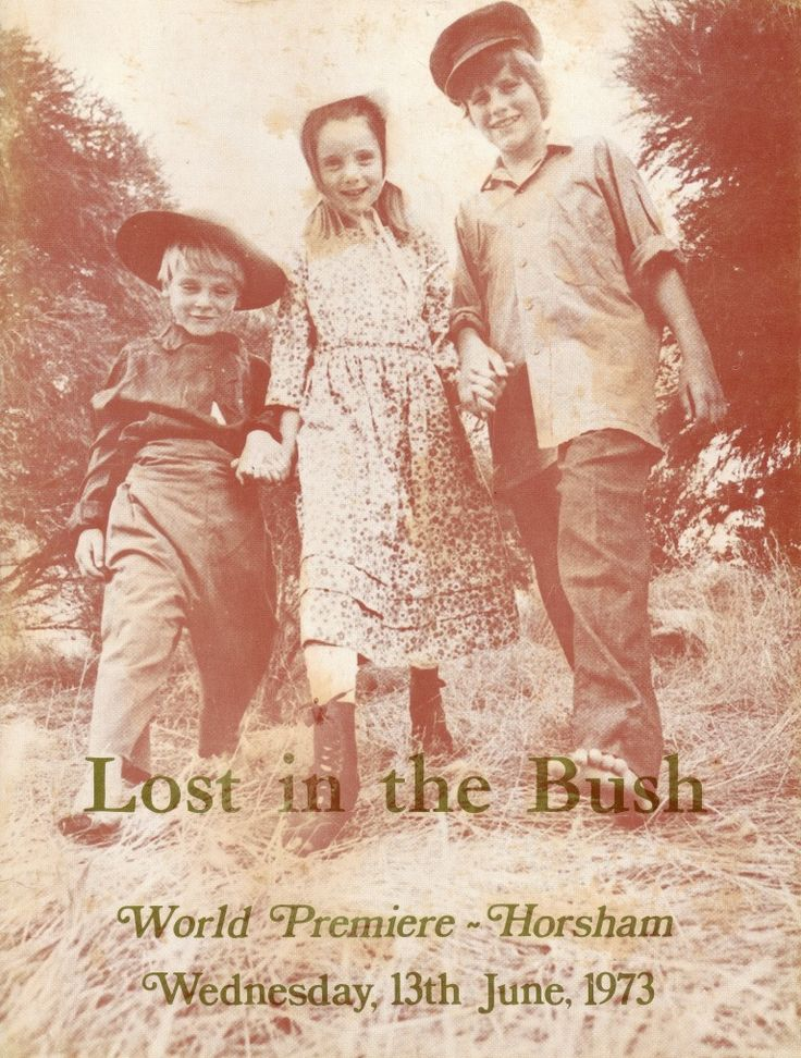 Cover of the booklet from the 'Lost in the Bush' film's premiere, with Richard McClelland (Frank), Gabrielle Bulle (Jane), and Colin Freckleton (Isaac), the original photograph was taken by 'The Sun' newspaper's Bill Tindale.