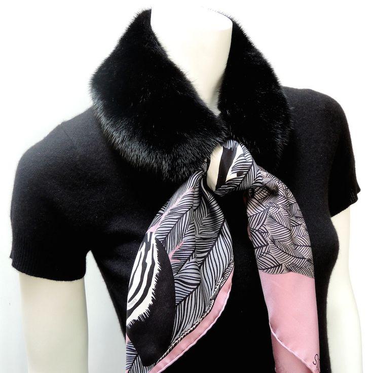 MaiTai Collection mink fur collar in black