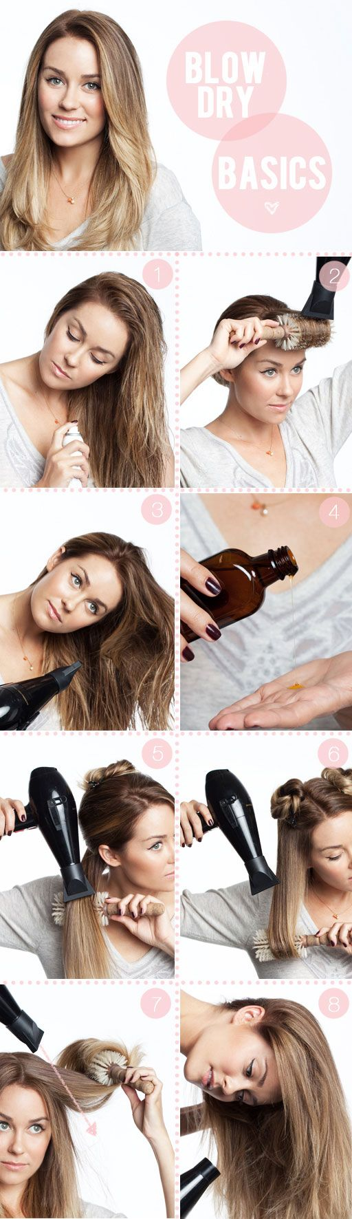 by kristin ess  Lots of requests for a very basic blow out. Here's your step by step! I'll do one for curly hair and one for fine hair as well. These are the basics steps for anyone with wavy and/or thick hair like Lauren's.    Tools: Blow dryer with the nozzle, leave-in conditioner or detangler, protective serum or frizz taming serum, medium to large round brush, clips.