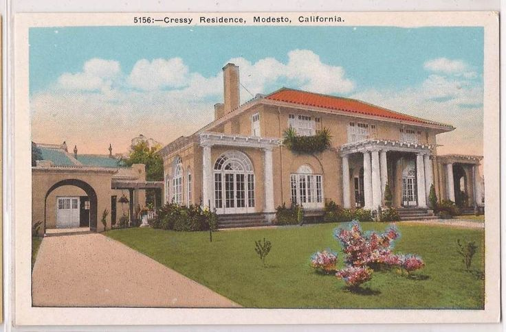 Modesto california postcard cressy residence house old for House modesto
