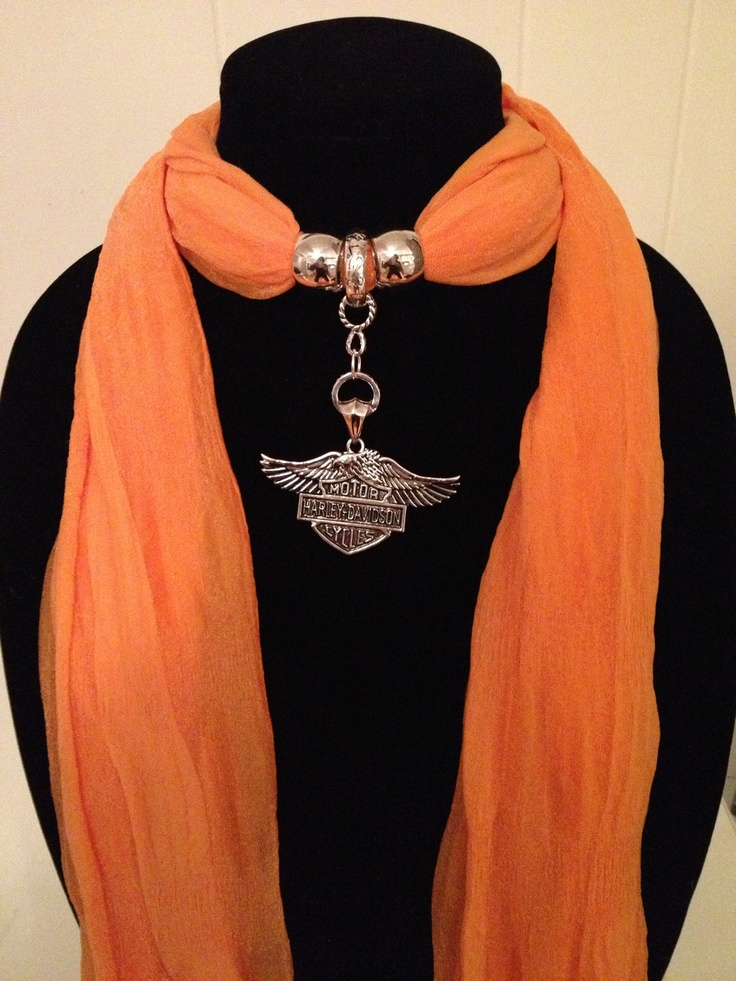 Harley-Davidson Chunky Pendant on a Coordinating Orange Scarf. $25.00, via Etsy.