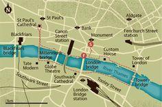 Walking map of river Thames, London