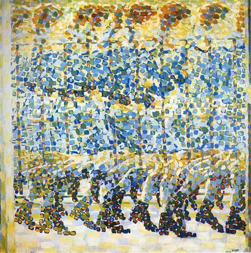 Girl Running on a Balcony | Giacomo Balla (1912) Italy #Pointillism