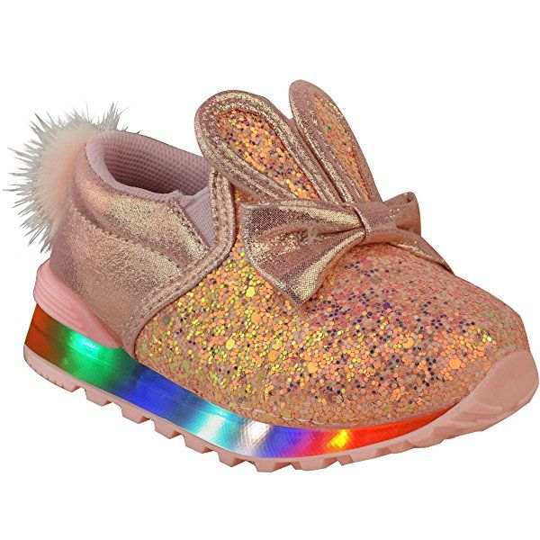 New Girls Kids Babies Trainers LED Flashing Light Up Bunny Shoes Sneakers Size: Amazon.co.uk: Shoes & Bags