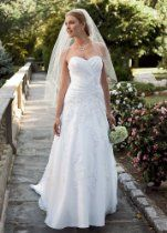 David's Bridal Wedding Dress: Petite Satin Gown with Lace and Beaded Appliques Style 7WG3103